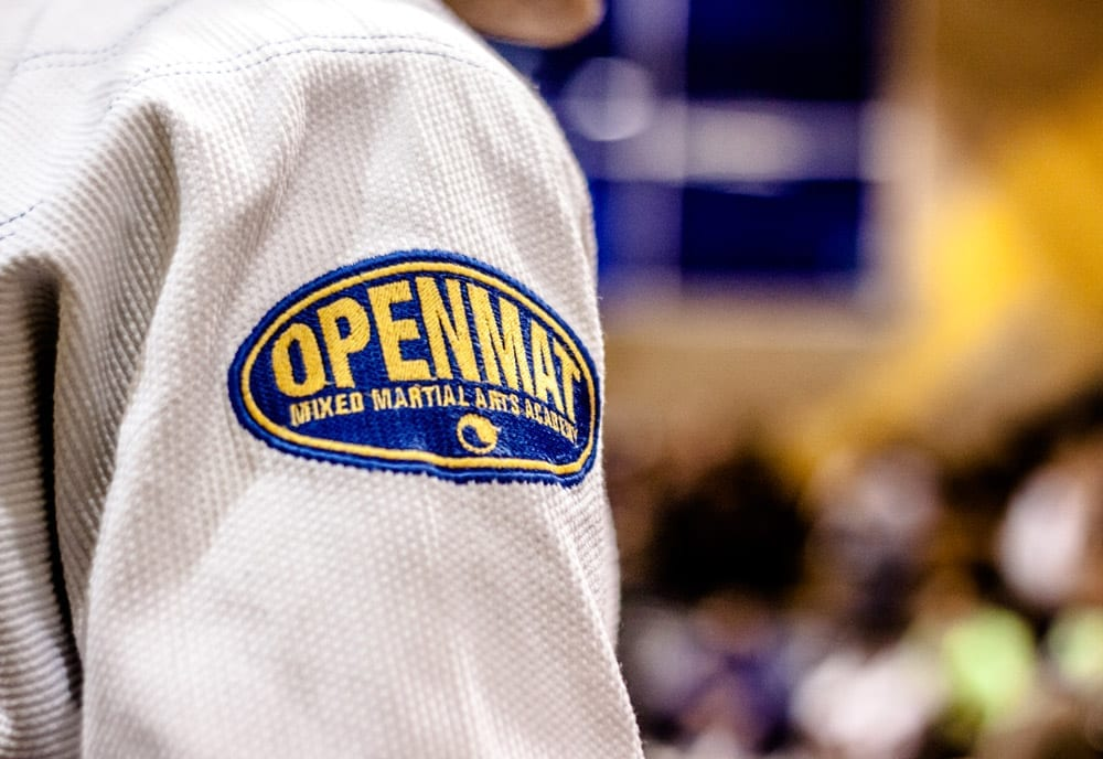 a photo of the openmat mma logo arm patch