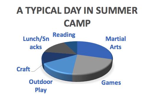 pie chart of summer camp activities
