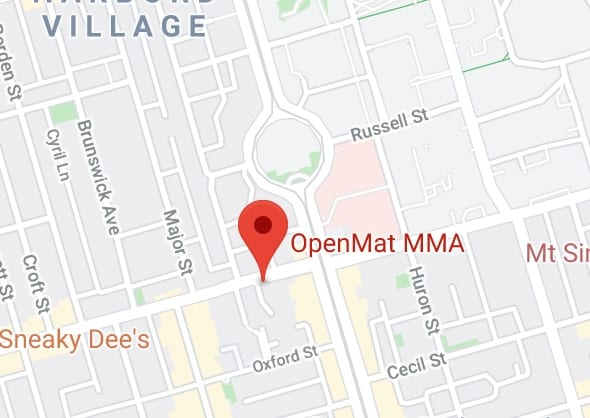 Map of the OpenMat MMA in at College and Spadina in downtown Toronto